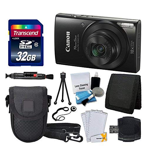 Canon PowerShot ELPH 190 is Digital Camera (Black) + Transcend 32GB Memory Card + Camera Case + USB Card Reader + Screen Protectors + Memory Card Wallet + Cleaning Pen + Great Value Accessory Bundle from Photo4Less