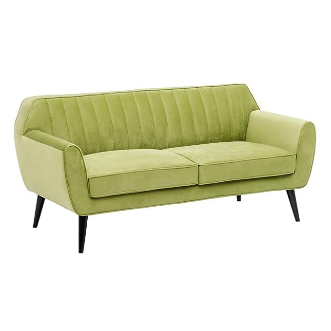 Sofá de 2 plazas, Vintage Verde de Terciopelo y Madera, de ...