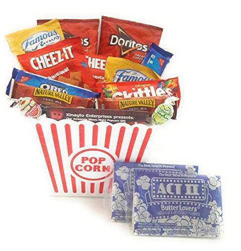 Movie Night Gift Basket Ultimate Care Package with lots of Premium Popcorn and Snacks in a Cool Nostalgic Reusable Plastic Bucket by Kinayto