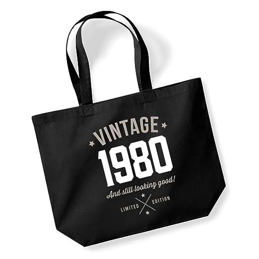Bolsa de compras estilo vintage, regalo de cumpleaños número 40, 1977, obsequio divertido para mujeres, tela, negro, large