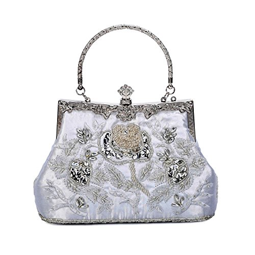 Fully Beaded Purse - Women Evening Clutch Purse Rhinestone Frosted Handbag Fully Sequined Mesh Beaded Party Bridal Evening Bags(Silver)