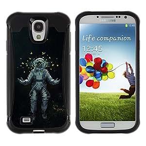 All-Round híbrido Heavy Duty de goma duro caso cubierta protectora Accesorio Generación-II BY RAYDREAMMM - Samsung Galaxy S4 I9500 - Astrounaut Cosmonaut Space Art Butterflies