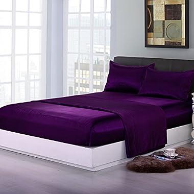 Sookie 4 piece Home Fashions Royal Opulence Satin Full Sheet Set, Purple