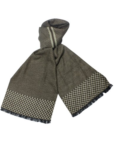 Reversible Checker End Pattern Rayon Silky Cashmere-Feel Long Scarf - (Weave Rayon Scarf)