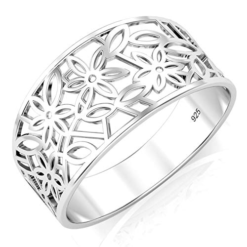 Sz 7 Sterling Silver 925 Victorian leaf Filigree Ring ()
