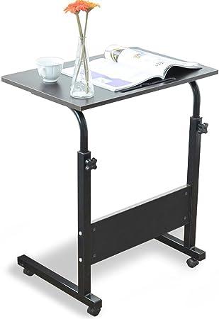 60 * 40cm Ch/êne DlandHome Table Roulante de Lit Canap/é pour Ordinateur Portable Hauteur R/églable Table dappoint avec 4 roulettes Verrouillables pour Bureau Chambre Rainure de Tablette