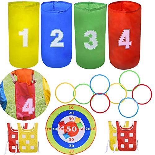 4 Outdoor Lawn Games Includes 4 Potato Sack Race Bags, 8 Hopscotch Rings, Toss Game Set with 4 Bean Bags and 4 Chasing Race Game Vests, Kids Outdoor Toys Birthday Party Games]()