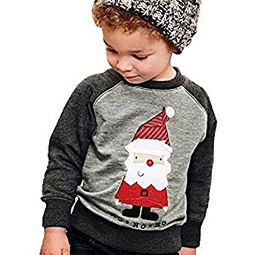 [AMA(TM) Baby Boy Girl Cotton Santa Claus T-Shirt Top Pullover Sweatshirt Coat (5T, Gray)] (Cute Santa Outfits)