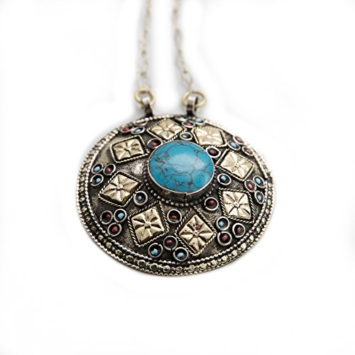 Afghani Tribal Engraved Antique Round Pendant with Chain Simulated (Engraved Turquoise Pendant)
