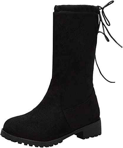 Womens Low Heel Flats Mid Calf Boots Round Toe Lace Stretch Booties Black Shoes