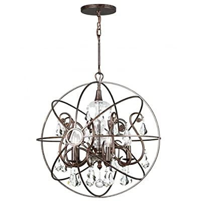 Crystorama 9026-EB-CL-MWP Crystal Accents Five Light Chandeliers from Solaris collection in Bronze/Darkfinish, - Five Light Chandeliers from the Solaris collection Height: 24.00 inches Width: 22.00 inches Number of Lights: 5, Bulb(s) Included: No - kitchen-dining-room-decor, kitchen-dining-room, chandeliers-lighting - 51VxjRhjtnL. SS400  -