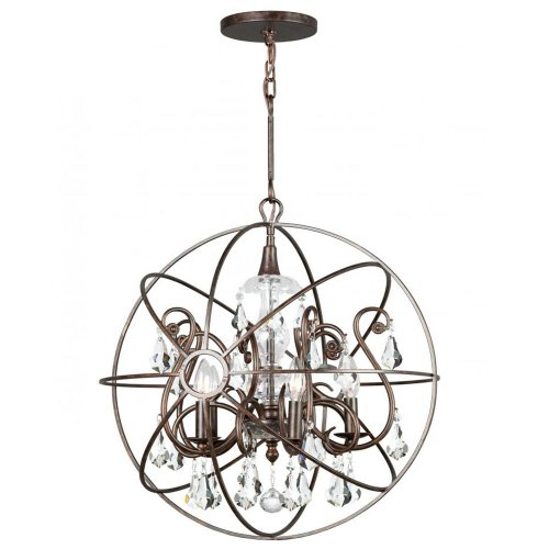 Crystorama 9026-EB-CL-MWP Crystal Accents Five Light Chandeliers from Solaris collection in (Crystorama Lighting Chandelier)