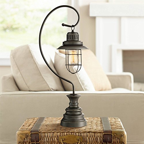 (Ulysses Industrial Desk Table Lamp Dark Oil Rubbed Bronze Metal Wire Cage Shade Lantern for Living Room Bedroom Office - Franklin Iron)