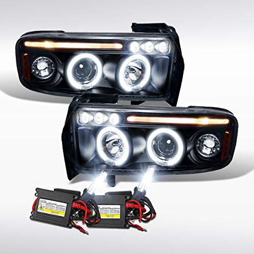 Autozensation For Dodge Ram Black Dual Halo LED Projector Headlights+6000K HID Bulbs Kit