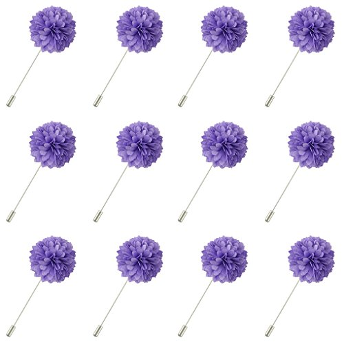 (FM FM42 Men's Violet Chiffon Carnation Flower Stick Brooch Pin Boutonniere for Suit Tuxedo Corsage (Pack of 12))