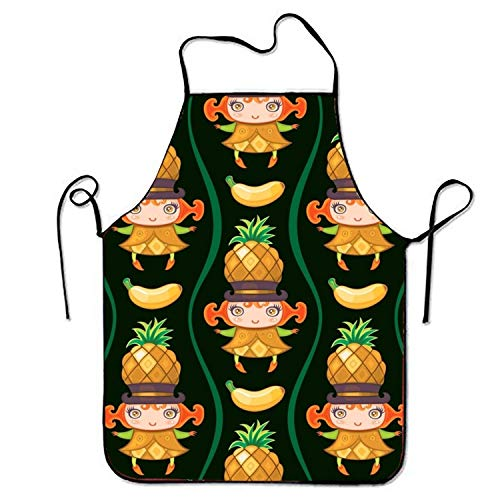 Plbfgfcover Aprons Pineapples Girl Kitchen Apron for Kitchen BBQ Barbecue Cooking Gardening Waterproof Durable and Great Gift Suit for Men Women Creative Design Bib -