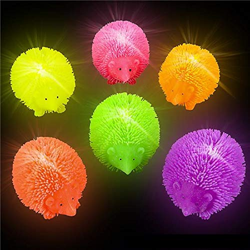 Hedgehog Ball (Shop Zoombie Light-Up Hedgehog Puffer Flashing Toy - 12 Pack and 1 Vortex Eraser - Party Favors, Glow Parties, Prizes, Sensory Toys, Easter Baskets, Stocking Stuffers)