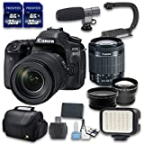 Canon EOS 80D DSLR Camera Bundle with Canon EF-S 18-55mm f/3.5-5.6 IS STM Lens +Wideangle + Telephoto Lenses + LED Light + 2 PC 32 Cards + Microphone + Case + Scorpion Grip + 6 PC Starter Kit