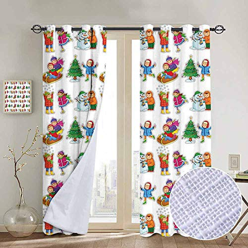 hengshu Winter Blackout Curtains - Gasket Insulation Kids in Winter Clothes Building Snowman Sledding and Christmas Tree Happy Times Blackout Curtains for The Living Room W108 x L84 Inch (Snowman Made Out Of Cups For Door)