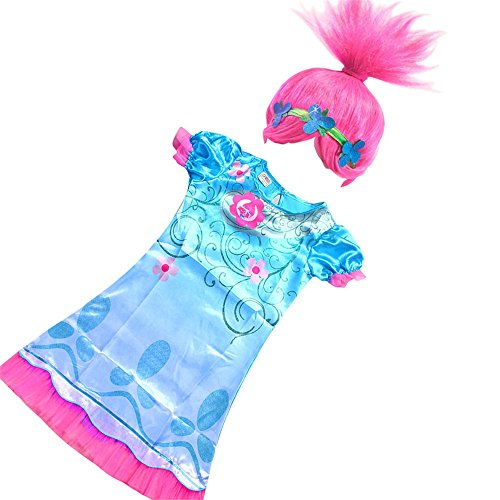 FSBBUT TM Trolls Girls Poppy Dress Wig Set for Halloween Cosplay Costume