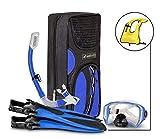 SealBuddy Fiji Panoramic Snorkel Set + Premium Travel Gear Bag ~ Vest Included (Dark/Blue, Large/XL Size 8 to 12)