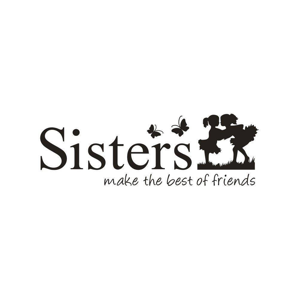 ❤️ Yu2d ❤️ Sisters Wake The Best of Friends PVC Wall Sticker Home Decor DIY Art
