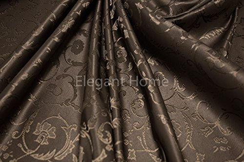 "Elegant Home Dark Brown Coffee Chocolate Floral Jacquard Rectangle Tablecloth Heavy Weight Fabric Table Cover for Kitchen Dinning Tabletop Linen Decor (52"" X 72"")"