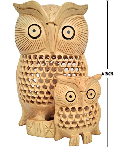 Javi 6 Inch Owl Decor Statue Owl Decoration for Home Handmade in Wooden Animal Collectable Figurine Antique Sculpture
