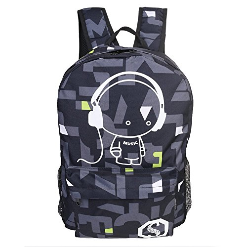 Luminous Star Sky Printed Shoulder School Bag Fashion Casual Daypack Backpacks Trendy Galaxy Pattern Backpack Cute Christmas Black Friday New Year's Day for School or Travel (Black ash)