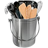 Sorbus Utensil Holder Caddy Crock to Organize Kitchen Tools - Great For Kitchen Accessories and Multi-Purpose – 1 Gallon Capacity (Stainless Steel)