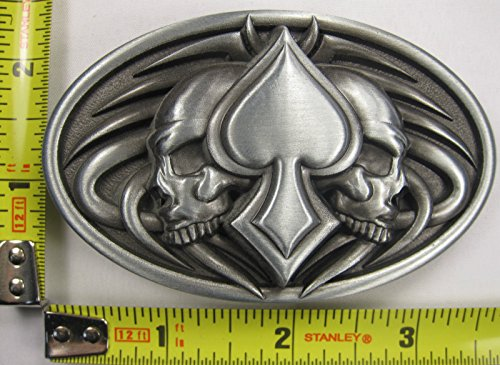 Spade Buckle (Skull Metal Belt Buckle Spade Double Pirate Tattoo New)