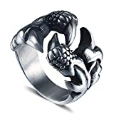 Dixinla Rings Steel , Men's Retro Fashion Domineering Dragon Claw Titanium Steel Ring Jewelry Gift for Family or Friends