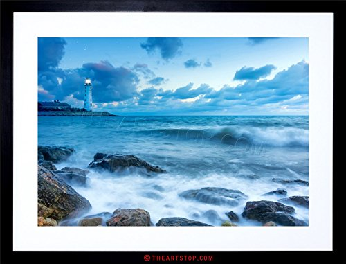 The Art Stop Photo Seascape Lighthouse Stormy Weather Waves Framed Print F12X5613