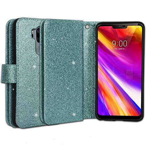 Ymhxcy LG G7 Wallet Case, LG G7 ThinQ Phone Case,PU Leather [9 Card Slots][Detachable][Kickstand] Phone Case & Wrist Lanyard LG G7-PT Mint by Ymhxcy (Image #4)