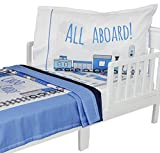 3pc RoomCraft All Aboard Trains Toddler Bedding Set Railroad Blanket Sheet and Pillowcase Set