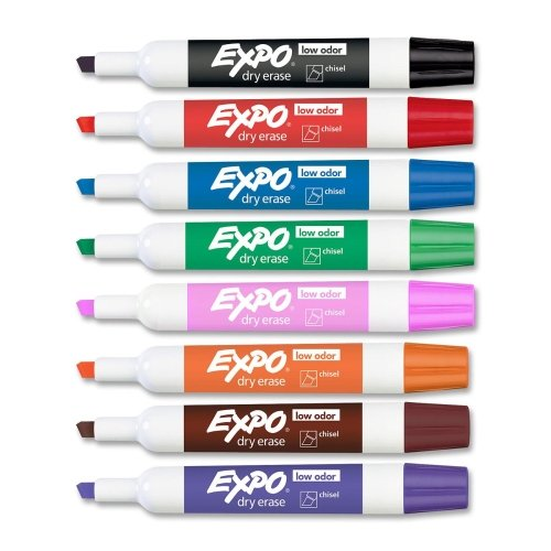 rkers - Chisel Marker Point Style - Black, Red, Blue, Green, Pink, Orange, Brown, Purple Ink - Assorted Barrel - 8 / Set (Marker Chisel Point Brown Ink)