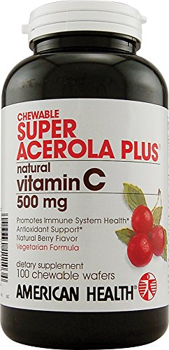 American Health Super Acerola Plus Chewable Wafers, 500 mg, Berry, 100 Count