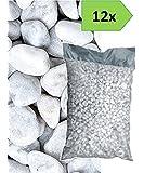Ciottoli di marmo bianco Carrara - 12 sacchi da 25 kg - sassi pietre giardino (40/60)