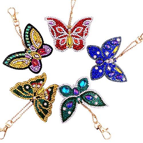New Arrival!DEESEE(TM)DIY Special Shape Full Diamond Diamond Pattern Key Ring Set Diamond Embroidery ()