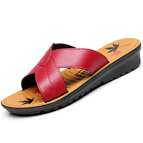 Slippers Thytas Slippers Mother Summer Sandals Comfortable New Flat Red Leisure Women Wine Bottom Soft PYPrqT