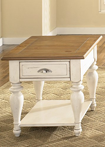 Liberty Furniture 303-OT1020 Ocean Isle Rectangular End Table, 24″ x 28″ x 24″, Bisque with Natural Pine For Sale