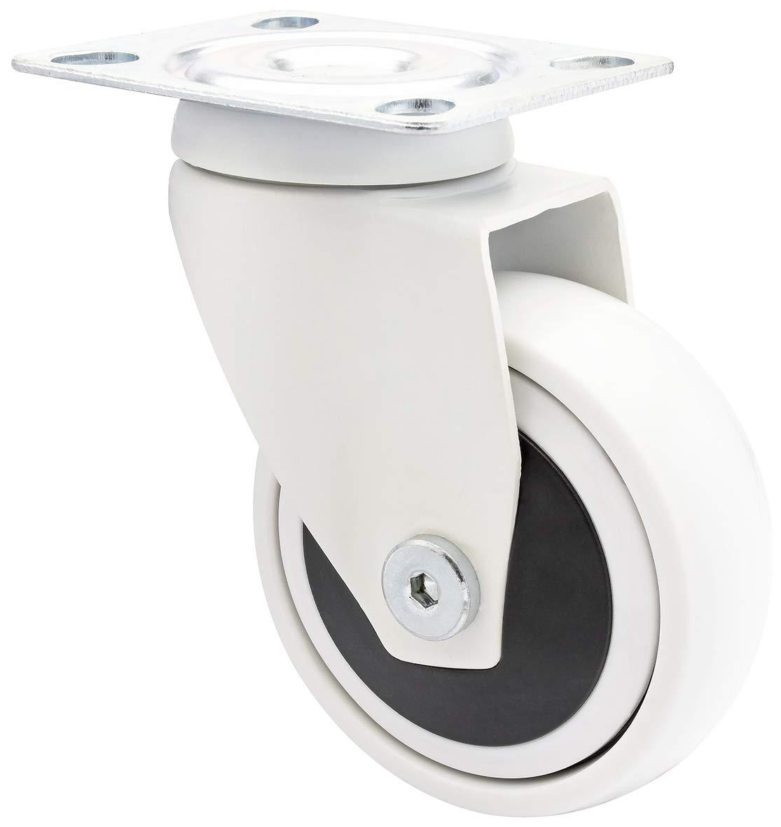 HSI 261400.0 Design-M/öbelrollen mit Platte und Bremse Zamak wei/ß//schwarz 100mm