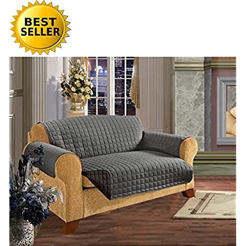 Elegant Comfort Luxury Slipcover/Furniture Protector Great For Pets U0026  Children With STRAPS TO PREVENT SLIPPING OFF, Sofa Size, Gray/Black