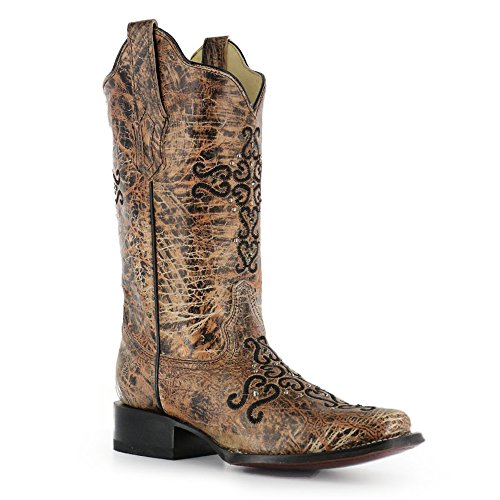 Corral Womens Cross Embroidery And Crystals Vierkante Neus Western Boots Brons, Zwart