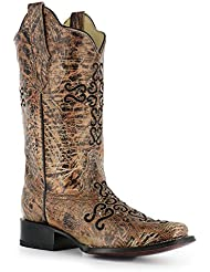 Corral Womens Cross Embroidery and Crystals Square Toe Western Boots