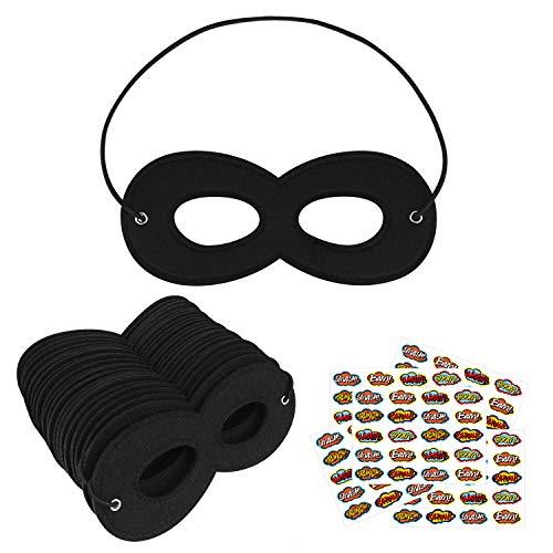 Life Like Masks Halloween (Superhero Masks, Kids Dress Up Masks for Halloween, Super Hero Masks for Kids Party, 24Pcs Black Masks with 100)