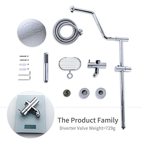 HOMELODY Shower Systems with Rain Shower and Handheld, 8'' Stainless Steel Rain Shower Head, Brass Hand Held Shower Head, Adjustable Slide Bar and Brass Soap Dish, Chrome B7021CP by HOMELODY (Image #7)