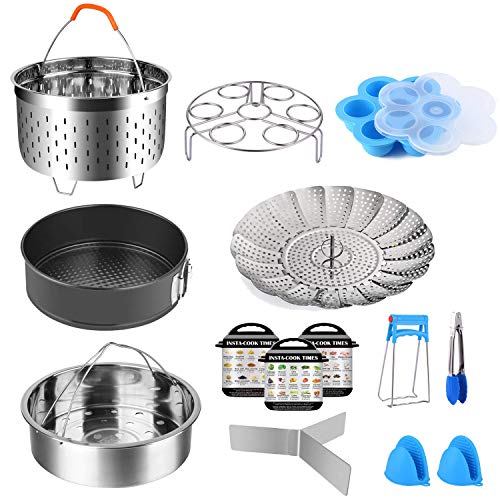 14 Pcs Instant Pot Accessories Set,Pressure Cooker Accessories Fit 5 6 8Qt 3 Steamer Basket Springform Pan, Egg Bites Mold, Egg Steamer Rack, Kitchen Tongs, Silicone Oven Mitts, 3 Cheat Sheet Magnets