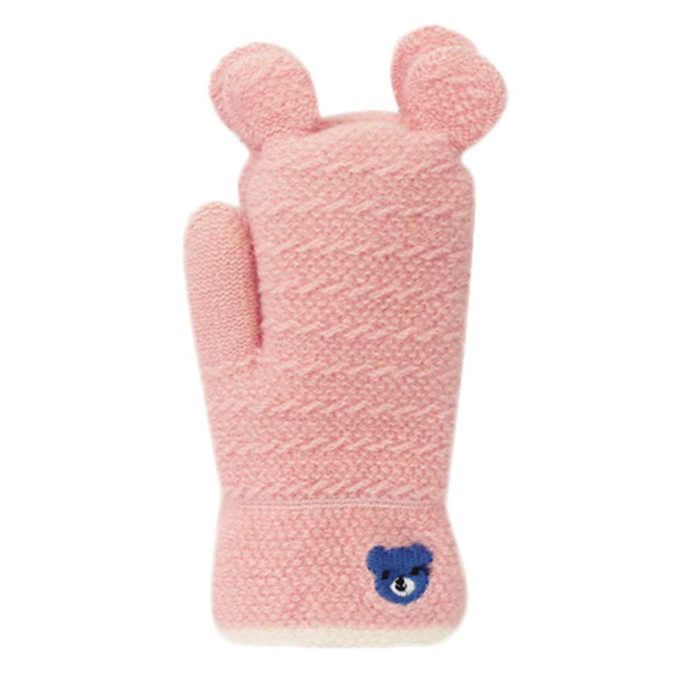 Boys Girls Gloves, Zerototens Kids Fashion Cute Animal Thicken Wool Winter Warm Hot With Rope Gloves Infant Baby Gifts Kids Knitted Mitten 2-8 Years Old