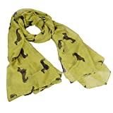 Eudora Fashion 9 Color Animal Dachshund Dog Print Scarf Pashmina Women Scarves (Green)